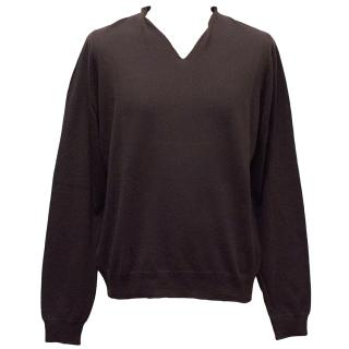Lanvin plum fine wool V-neck jumper