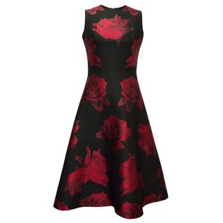 Alexander McQueen Black Dress with Red Roses