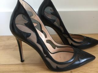 Gianvito Rossi black nappa leather and mesh heels