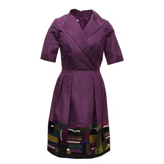Oscar de la Renta Purple Dress with Embroidered Hem