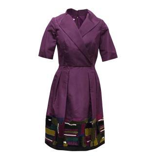 Oscar de la Renta Purple Dress with Embroidered Hem