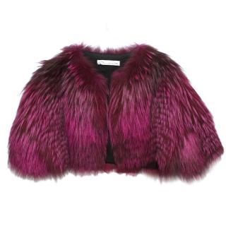 Oscar de la Renta Shocking Pink Fur Bolero