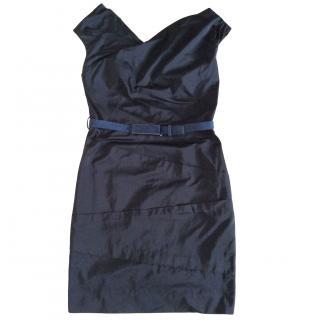 Natan black taffetas dress with suede belt