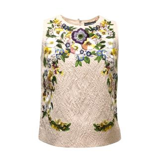 Dolce & Gabbana Pale Pink Floral Embroidered Top