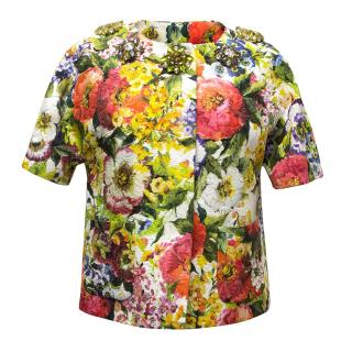 Dolce & Gabbana bright floral jacket with embellishment