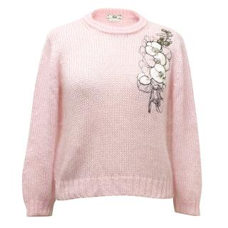 Fendi mohair and silk Pink jumper with flower embellishmet