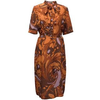 Bottega Veneta orange silk patterned dress