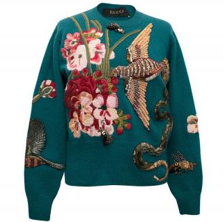 Gucci Teal Wool Jumper with Embroidered Birds and Flowers