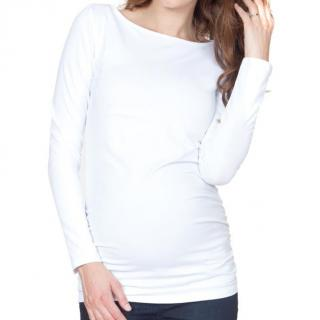 NEW Seraphine Maternity White Boatneck Top