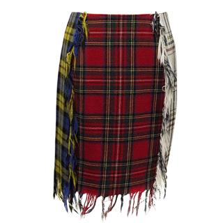 Moschino Couture Multi-Coloured Tartan Skirt with Fringing