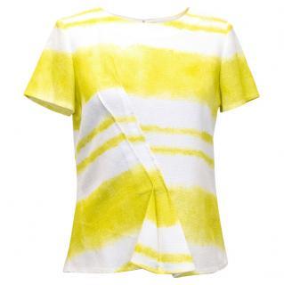 Carolina Herrera White & Yellow Short Sleeve Shirt