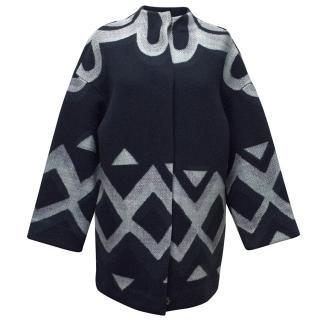 Burberry Prorsum Blue Print Wool Coat