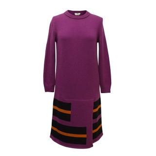 Fendi purple knitted dress with red and black stripes
