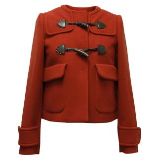 Miu Miu Red Wool Coat with Wooden Toggles