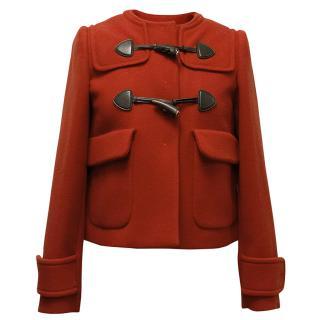 Miu Miu Red Wool Coat with Wooden Toggles