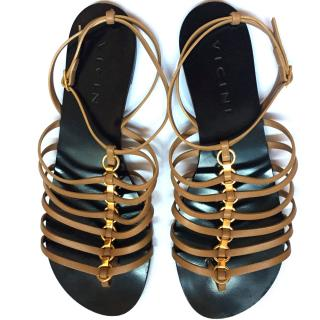 Vicini Gladiator Sandals Beige/gold Size 41
