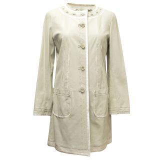 Ellie Tahari Light Mint Leather Jacket with Details