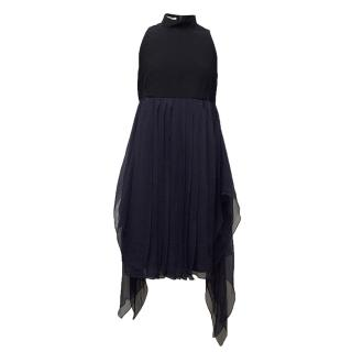 Miu Miu Navy high neck blue floaty dress.