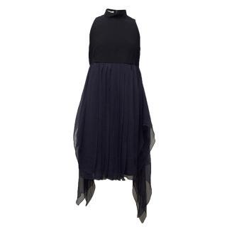 Miu Miu Navy high neck blue floaty dress.