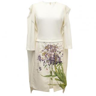 AKRIS cream dress with flower print and cream scarf.