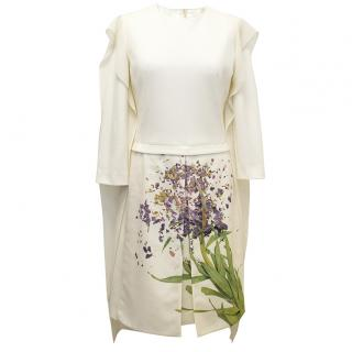 AKRIS cream dress with flower print and cream scarf.