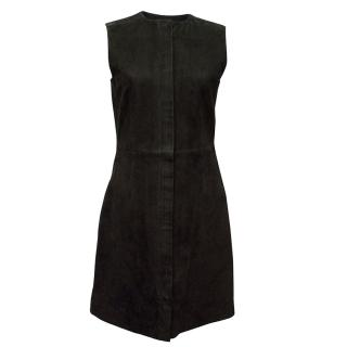 Balenciaga Black Suede Zip-Front Sleeveless Dress