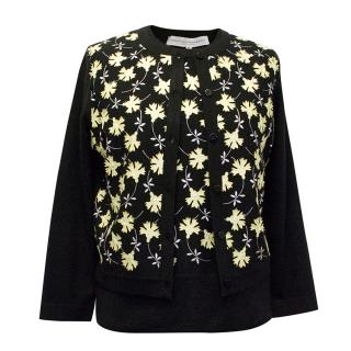 Carolina Herrera Black Floral Embellished Cardigan & Jumper