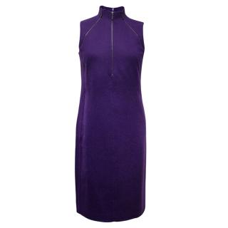 AKRIS purple cashmere fitted dress with zip details.