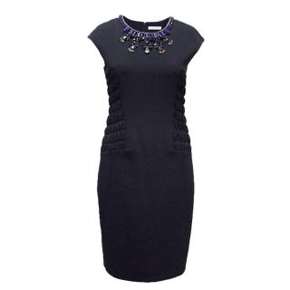 Matthew Williamson navy fitted dress with embellishments.