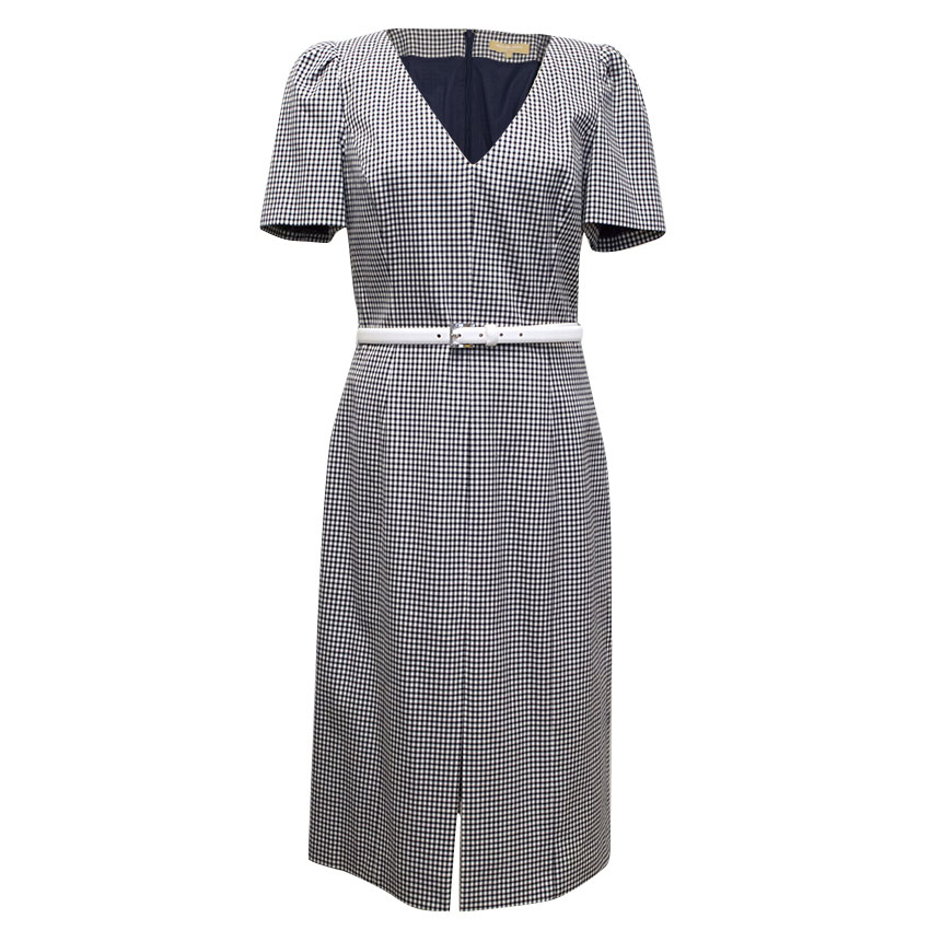Michael Kors Check Navy and White V-Neck Structured Dress