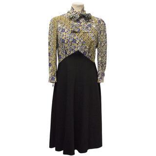 Louis Vuitton Long-Sleeve Silk-Blend Blue & Floral Dress