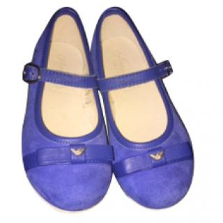 Armani girl's royal blue smart suede shoes