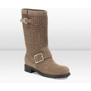 Jimmy Choo Taupe Suede Perforated Biker Boots