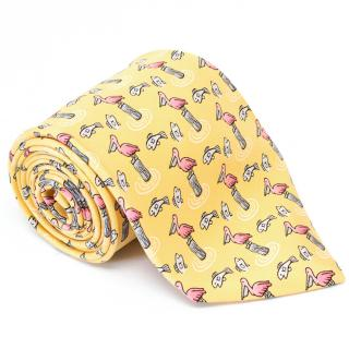 Yellow Hermes Silk tie with pink pelican and fish print