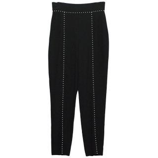 Alexander Mcqueen black highwaist trousers with pearl detail