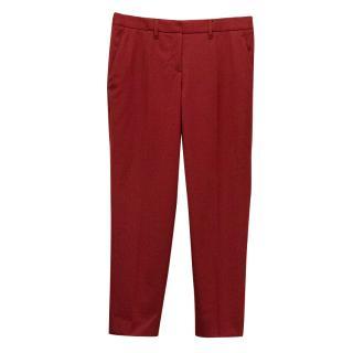 Red Miu Miu cigarette trousers.