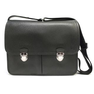 Louis vuitton black leather satchel with silver clasps