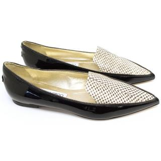 Jimmy Choo Patent Black and Snakeskin Loafers.