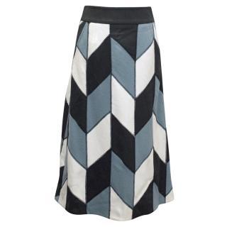 Emma Cook Geometric print blue,white and black skirt.