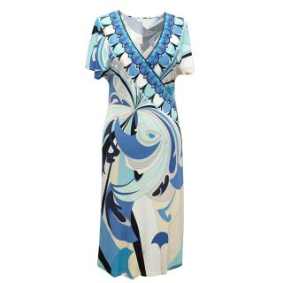 Emilio Pucci Blue Patterned Dress with V-Neck.