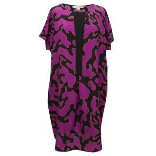 Diane Von Furstenberg Purple and Black Patterned Dress