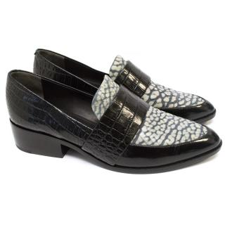 Phillip Lim Croc Textured Leather Loafers with Blue Pattern
