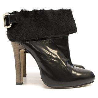 Topshop Unique Black Leather Ankle Boots With Fur