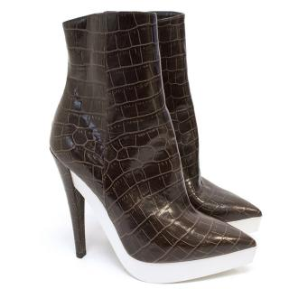 Stella McCartney Faux Croc Leather Pointed Boots.