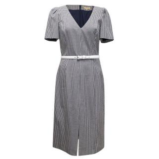 Michael Kors Check Navy and White V-Neck Structured Dress