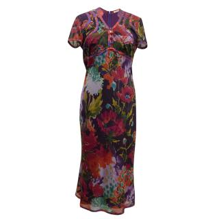 ETRO Floral Print Mid Length Dress with Jewel Buttons.