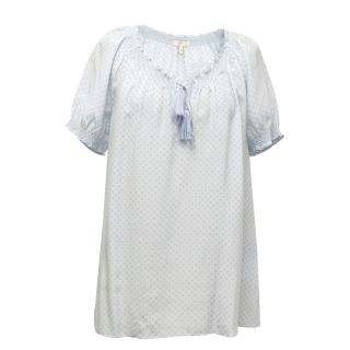 Joie Silk Blue Flower Print Top with Elasticised Collar