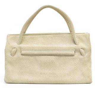 Giorgio Armani Textured Suede Cream Handbag
