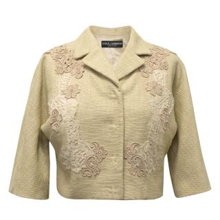 Dolce and Gabbana Beige and Nude Tweed Cropped Jacket