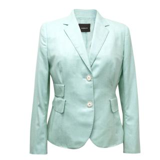 AKRIS Turqoise Blue Cashmere-Silk Blend Blazer